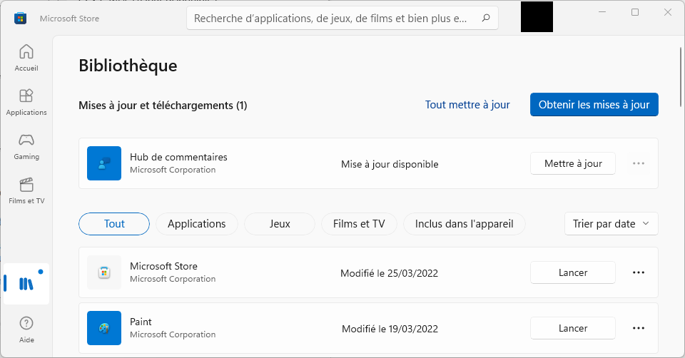 Mise à jour Windows Store